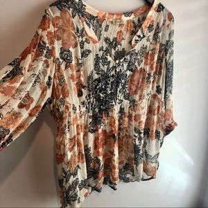 Lucky Brand Floral Fit and Flare Blouse